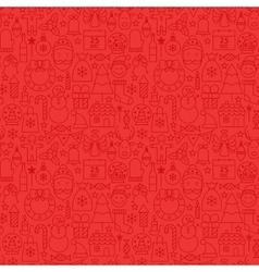 Line Christmas Red Tile Pattern vector