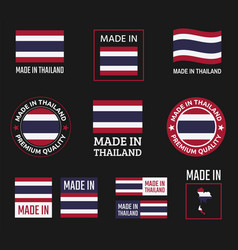 made in thailand labels set kingdom thailand vector image