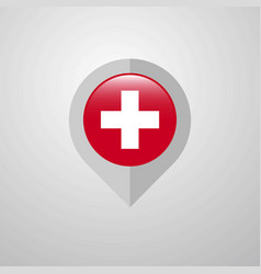 Map navigation pointer with switzerland flag vector