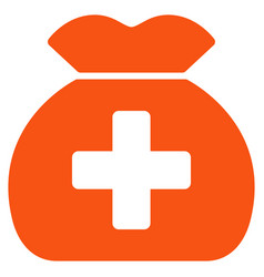 Medical fund sack flat icon vector