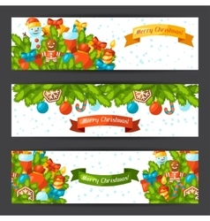 Merry Christmas holiday banners with celebration vector image