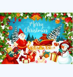 Merry christmas postcard with snowman and dwarf vector