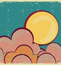 Moon and cloudsRetro nature sky vector image