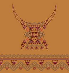 Neckline design with border in ethnic style vector