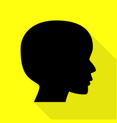 people head sign black icon with flat style vector image