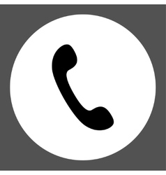 Phone flat black and white colors round button vector