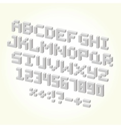 Pixel brick font isolated set vector image
