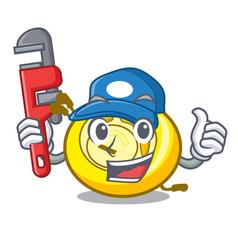 Plumber cd player mascot cartoon vector