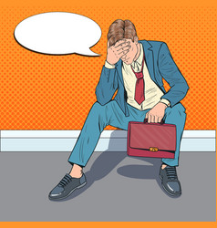 Pop art stressed businessman sitting on the floor vector
