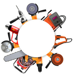 power tools round frame vector image