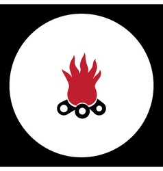 Red camp fire black simple icon eps10 vector