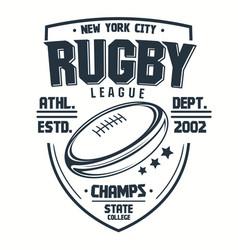 Rugt-shirt print sport club emblem college vector
