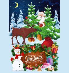 santa snowman and deer with christmas tree gifts vector image