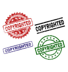 Scratched textured copyrighted seal stamps vector