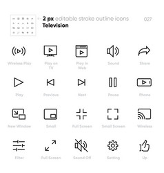 screen video control outline icons tv vector image