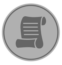 script roll silver coin vector image