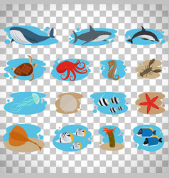 sea animals set on transparent background vector image