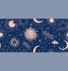 Seamless blue space pattern with sun crescent vector