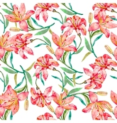 Seamless floral pattern Lilies flowers vector image