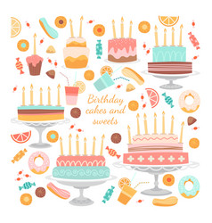 set birthday cakes and sweets vector image