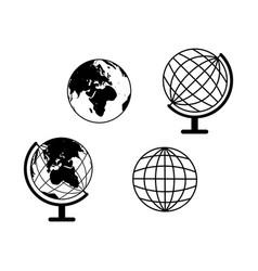 set globes icons world vector image