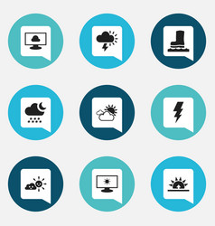 Set of 9 editable air icons includes symbols such vector