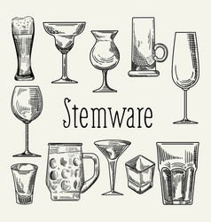set of different drink beverage glasses stemware vector image
