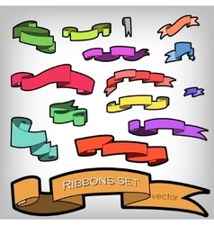 Set of Multicolored Ribbons Banners for vector