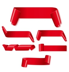 Set of red paper ribbons on white background vector image