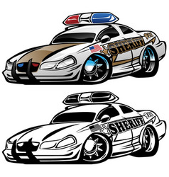 sheriff muscle car cartoon vector image