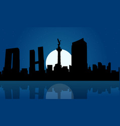 Silhouette of mexico city at night landscape vector