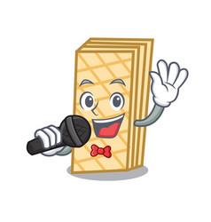 Singing waffle mascot cartoon style vector