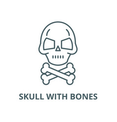 skull with bones line icon linear concept vector image