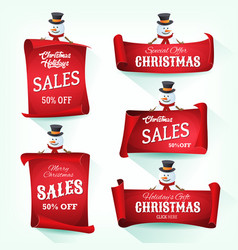 snowman holding christmas parchment scroll vector image