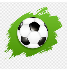 soccer ball with green blot transparent banner vector image