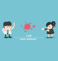 Social distancing people keeping distance vector