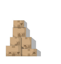 Stacked boxes on white background vector