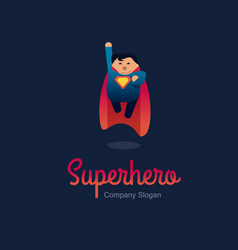 superhero logo concept fat character flying flat vector image