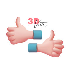 Thumbs up hand 3d confirm cartoon sign on white vector