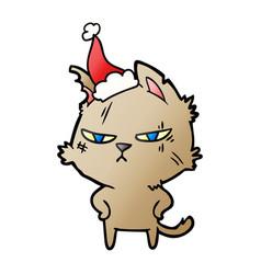 Tough gradient cartoon of a cat wearing santa hat vector