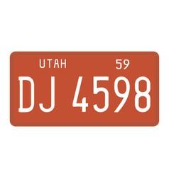 Utah 1959 license plate vector
