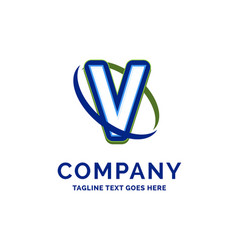 v company name design logo template brand name vector image