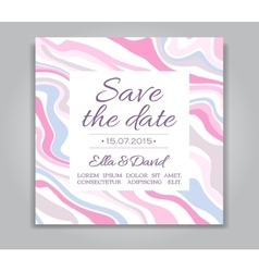 Wedding Save the Date card with ink marble vector image
