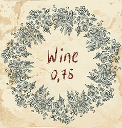 Wine label retro design with grapevine vector