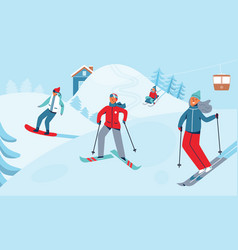 winter sports activity ski resort characters vector image