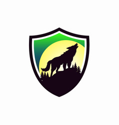 wolf shield logo image vector image