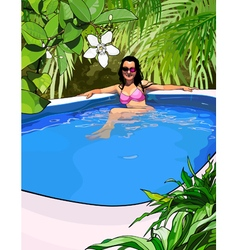 Woman in a swimsuit in the pool in the tropics vector