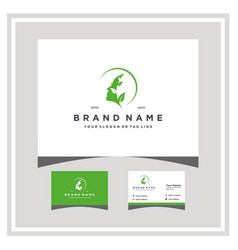 Woman leaf logo design and business card vector