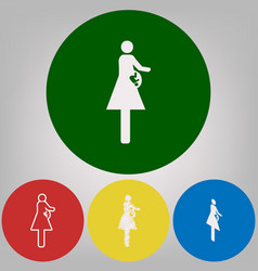 Women and baby sign 4 white styles of vector