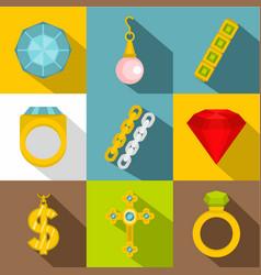 women jewelry icon set flat style vector image